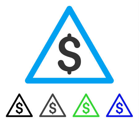 Money Warning flat vector icon. Colored money warning gray, black, blue, green icon variants. Flat icon style for web design. Illustration