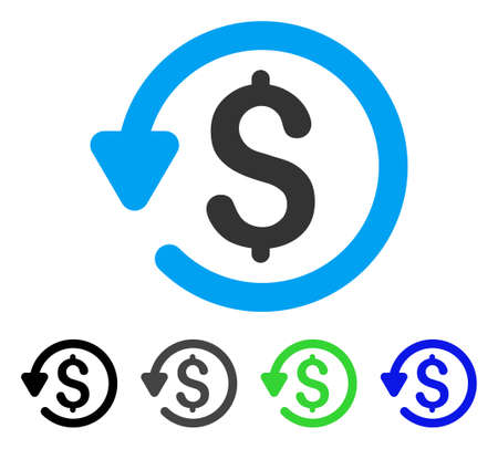 Refund flat vector icon. Colored refund gray, black, blue, green icon variants. Flat icon style for web design. Ilustrace