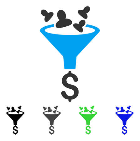 Sales Funnel flat vector pictogram. Colored sales funnel gray, black, blue, green pictogram variants. Flat icon style for application design.