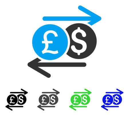 Currency Exchange flat vector pictograph. Colored currency exchange gray, black, blue, green icon versions. Flat icon style for application design.