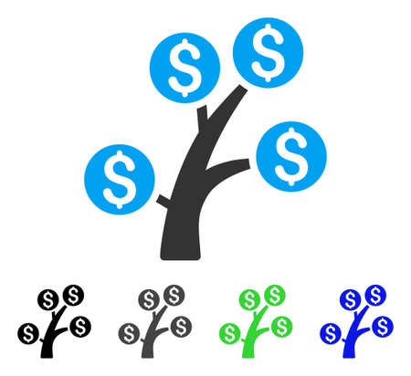 Money Tree flat vector icon. Colored money tree gray, black, blue, green icon variants. Flat icon style for graphic design. Illustration
