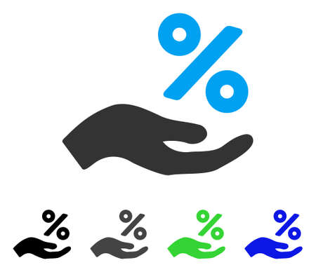 Percent Offer Hand flat vector illustration. Colored percent offer hand gray, black, blue, green icon versions. Flat icon style for graphic design. Illustration
