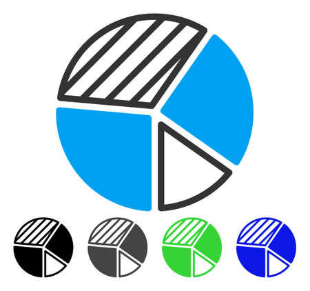 Pie Chart flat vector illustration. Colored pie chart gray, black, blue, green icon variants. Flat icon style for application design. Illustration