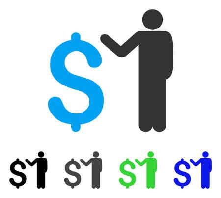 Banker flat vector illustration. Colored banker gray, black, blue, green pictogram versions. Flat icon style for application design.