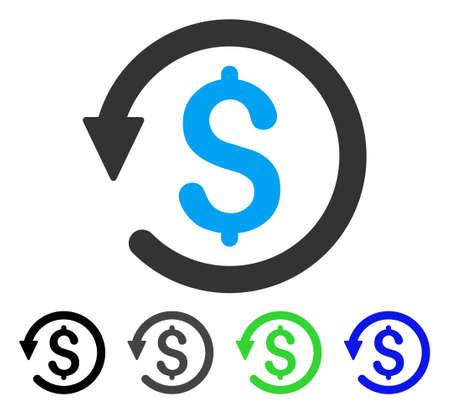チャージ バック フラット ベクトル ピクトグラム。チャージ バックの灰色、黒、青、緑のアイコンのバリエーション色。Web デザインのフラット ア