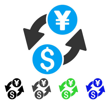 Dollar Yen Exchange flat vector icon. Colored dollar yen exchange gray, black, blue, green icon variants. Flat icon style for web design. Illustration