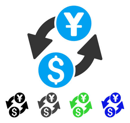Dollar Yuan Exchange flat vector pictograph. Colored dollar yuan exchange gray, black, blue, green pictogram versions. Flat icon style for web design.