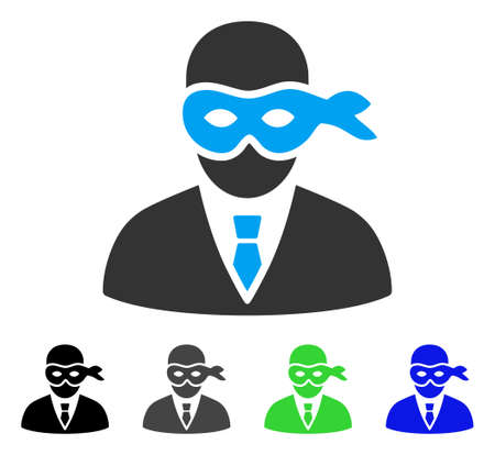 Masked Thief flat vector icon. Colored masked thief gray, black, blue, green pictogram versions. Flat icon style for application design. Illustration