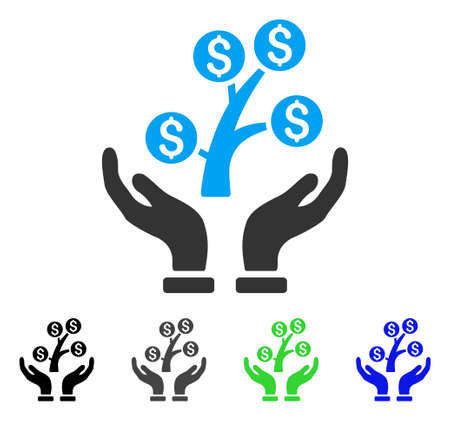 Money Tree Care Hands flat vector pictograph. Colored money tree care hands gray, black, blue, green pictogram versions. Flat icon style for graphic design. Illustration