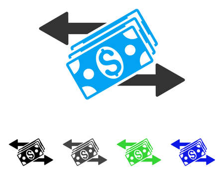 Dollar Banknotes Payments flat vector icon. Colored dollar banknotes payments gray, black, blue, green icon variants. Flat icon style for application design. Illustration