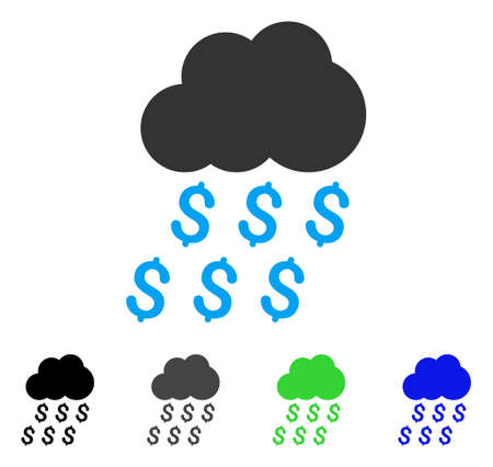 Money Rain flat vector pictogram. Colored money rain gray, black, blue, green pictogram variants. Flat icon style for graphic design.