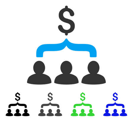 Sales Funnel flat vector pictograph. Colored sales funnel gray, black, blue, green pictogram versions. Flat icon style for application design.
