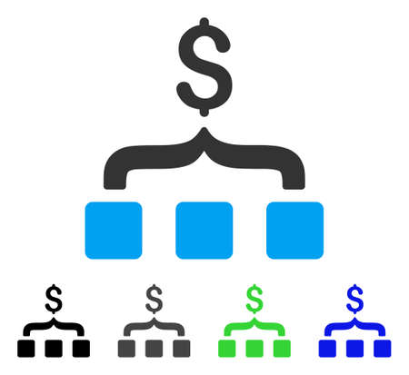 Collect Money flat vector pictograph. Colored collect money gray, black, blue, green pictogram versions. Flat icon style for web design.