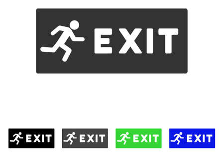 Emergency Exit flat vector icon. Colored emergency exit gray, black, blue, green pictogram versions. Flat icon style for web design. Illustration