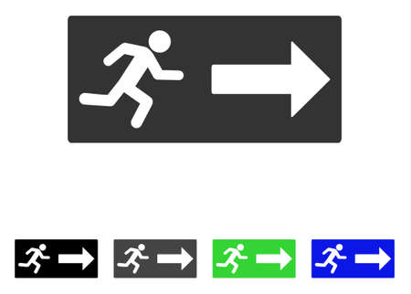Emergency Exit flat vector illustration. Colored emergency exit gray, black, blue, green pictogram versions. Flat icon style for graphic design.