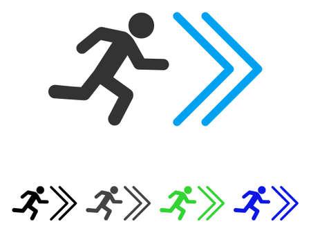Uitgang richting platte vectorillustratie. Gekleurde afritrichting grijze, zwarte, blauwe, groene pictogramvarianten. Platte pictogramstijl voor grafisch ontwerp. Vector Illustratie