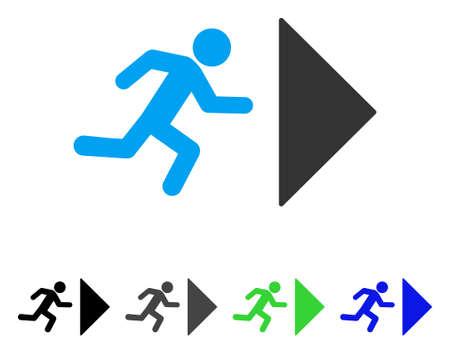 Pictogramme vectoriel de sortie direction. Direction de sortie colorée en gris, noir, bleu, vert. Style d'icône plat pour la conception de l'application. Banque d'images - 82899884