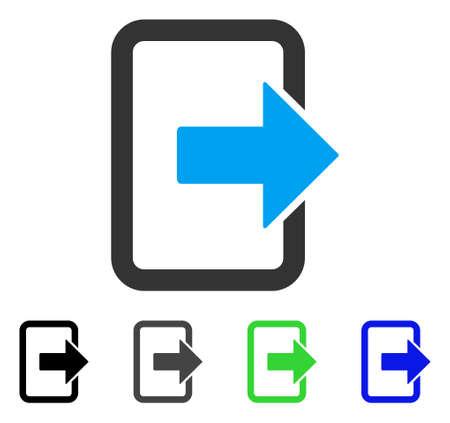 Exit deur platte vector pictogram. Gekleurde uitvoeringen in grijs, zwart, blauw, groen en grijs. Platte pictogramstijl voor grafisch ontwerp.