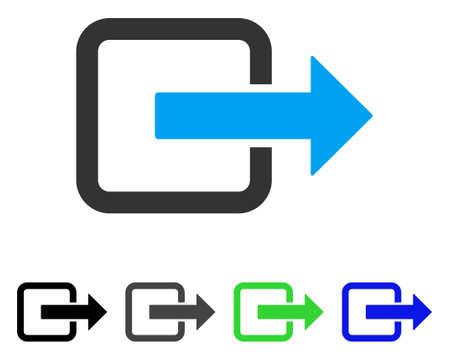 Exit deur platte vectorillustratie. Gekleurde grijze, zwarte, blauwe, groene pictogramvarianten in de uitgangsdeur. Platte pictogramstijl voor grafisch ontwerp. Stock Illustratie
