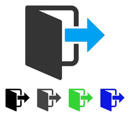 Exit deur platte vector pictogram. Gekleurde grijze, zwarte, blauwe, groene pictogramvarianten in de uitgangsdeur. Platte pictogramstijl voor webdesign. Stock Illustratie
