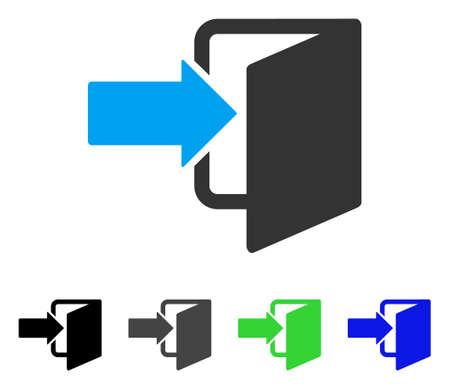 Exit deur platte vector pictogram. Gekleurde grijze, zwarte, blauwe, groene pictogramvarianten in de uitgangsdeur. Platte pictogramstijl voor grafisch ontwerp. Stock Illustratie