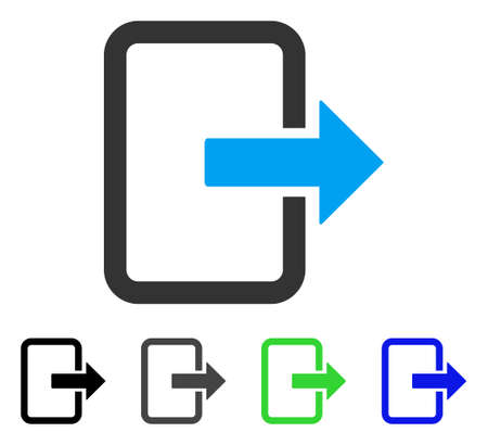Salir Pictograma vector plana de la puerta. Color de la puerta de salida gris, negro, azul, verde, variantes de pictograma. Estilo de iconos planos para el diseño gráfico. Foto de archivo - 82899456