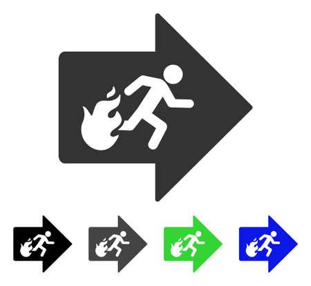 Fire Exit platte vector pictogram. Gekleurde versies grijs, zwart, blauw, groen en grijs uitgegaan. Platte pictogramstijl voor grafisch ontwerp.