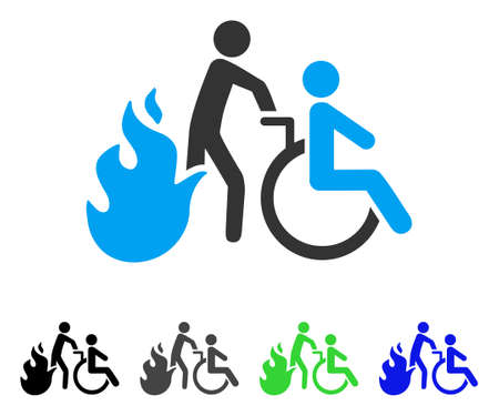 Fire Patient Evacuation flat vector pictograph. Colored fire patient evacuation gray, black, blue, green icon variants. Flat icon style for graphic design. Illustration