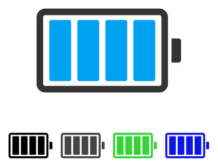 Pictogramme de plat vecteur de batterie. Pile colorée gris, noir, bleu, vert des versions de pictogramme. Style d'icône plate pour la conception web. Vecteurs