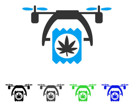 Cannabis Drone Delivery flat vector pictograph. Colored cannabis drone delivery gray, black, blue, green pictogram variants. Flat icon style for graphic design.