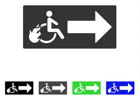 Patient Exit flat vector pictograph. Colored patient exit gray, black, blue, green pictogram versions. Flat icon style for web design.