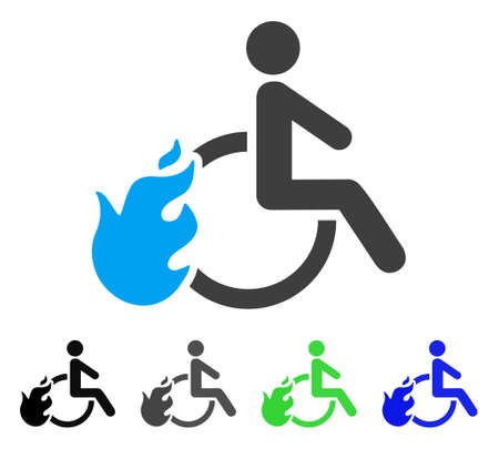 Fired Disabled Person flat vector icon. Colored fired disabled person gray, black, blue, green icon versions. Flat icon style for application design.