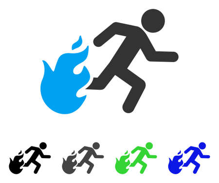 Fired Running Man flat vector pictogram. Colored fired running man gray, black, blue, green pictogram variants. Flat icon style for web design.