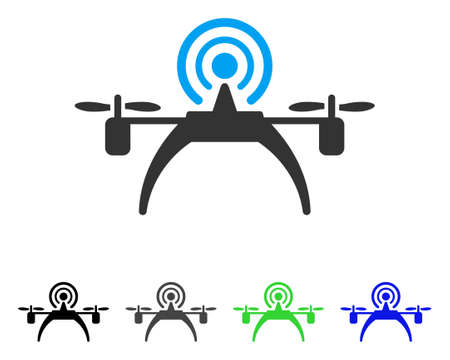 Radio Source Drone flat vector pictograph. Colored radio source drone gray, black, blue, green icon variants. Flat icon style for web design.