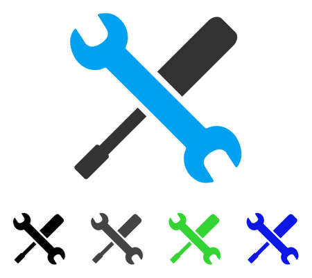 Tools flat vector illustration. Colored tools gray, black, blue, green icon variants. Flat icon style for web design.