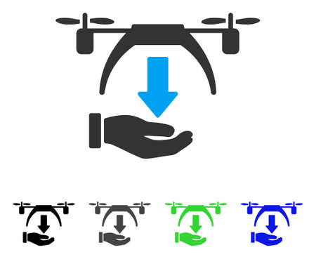 Unload Drone flat vector pictogram. Colored unload drone gray, black, blue, green pictogram variants. Flat icon style for application design.