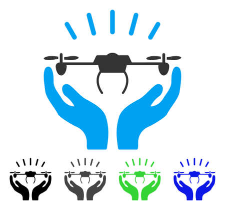 Drone Launch Hands flat vector illustration. Colored drone launch hands gray, black, blue, green icon versions. Flat icon style for graphic design.