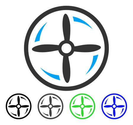 Drone Screw Rotation flat vector pictograph. Colored drone screw rotation gray, black, blue, green pictogram versions. Flat icon style for web design.