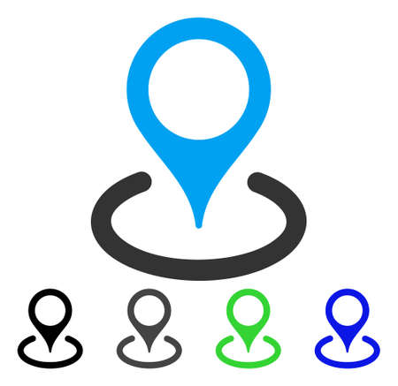 Location flat vector icon. Colored location gray, black, blue, green pictogram versions. Flat icon style for graphic design. Illustration
