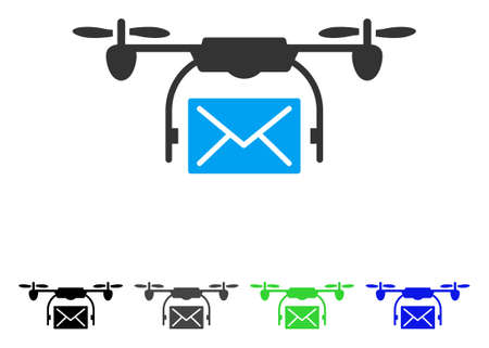 Mail Delivery Drone flat vector pictograph. Colored mail delivery drone gray, black, blue, green pictogram variants. Flat icon style for graphic design. 일러스트
