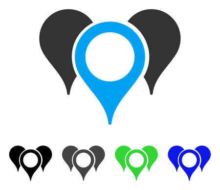 Map Pointers flat vector pictogram. Colored map pointers gray, black, blue, green pictogram versions. Flat icon style for application design.