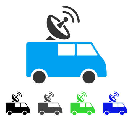 Radio Control Car flat vector pictograph. Colored radio control car gray, black, blue, green icon variants. Flat icon style for graphic design. Illustration