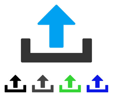 Upload flat vector pictograph. Colored upload gray, black, blue, green pictogram variants. Flat icon style for application design.