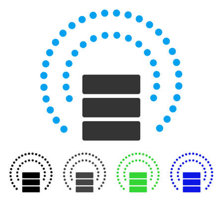 Database Sphere Shield flat vector pictograph. Colored database sphere shield gray, black, blue, green pictogram variants. Flat icon style for application design. Illustration