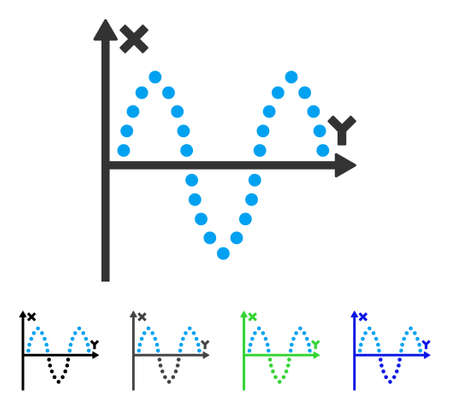 Sinusoid Plot flat vector pictograph. Colored sinusoid plot gray, black, blue, green icon variants. Flat icon style for web design.