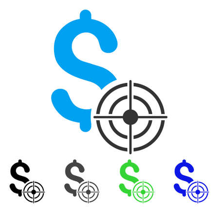 Business Target flat vector pictogram. Colores de negocios objetivo gris, negro, azul, verde, versiones de pictogramas. Estilo de icono plana para diseño web.