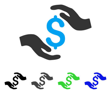 Dollar Care Hands flat vector pictograph. Colored dollar care hands gray, black, blue, green icon versions. Flat icon style for application design.