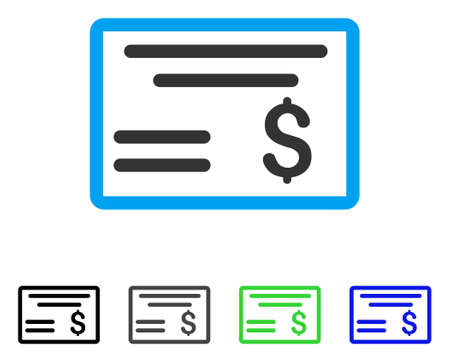 Dollar Cheque flat vector illustration. Colored dollar cheque gray, black, blue, green icon versions. Flat icon style for graphic design.
