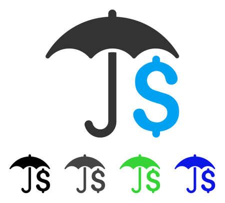 Flaches Vektorpiktogramm des Regenschirmes. Farbiger finanzieller Regenschirm grau, schwarz, blau, grüne Ikonenvarianten. Flache Ikonenart für Webdesign.