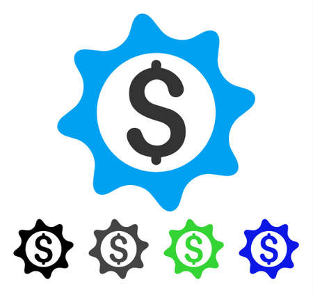 Money Seal flat vector pictograph. Colored money seal gray, black, blue, green pictogram variants. Flat icon style for graphic design. Illustration